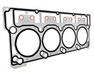 The surface of this Ford 6.0L Powerstroke MLS head gasket is uncoated but has raised sealing beads around all critical sealing areas. It also has pushrod protection eyelets as an added feature (courtesy Fel-Pro).