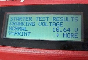 Photo 1: This 10.64 battery cranking voltage is well above Toyota's threshold of 9.6 volts, which means the battery isn't causing the charging system problem.
