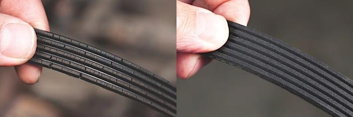 LEFT: Cracking could be a sign of extreme temperature or exposure to elements in the environment. RIGHT: Even if a belt has no cracks, it could be due for replacement because of wear on the grooves.
