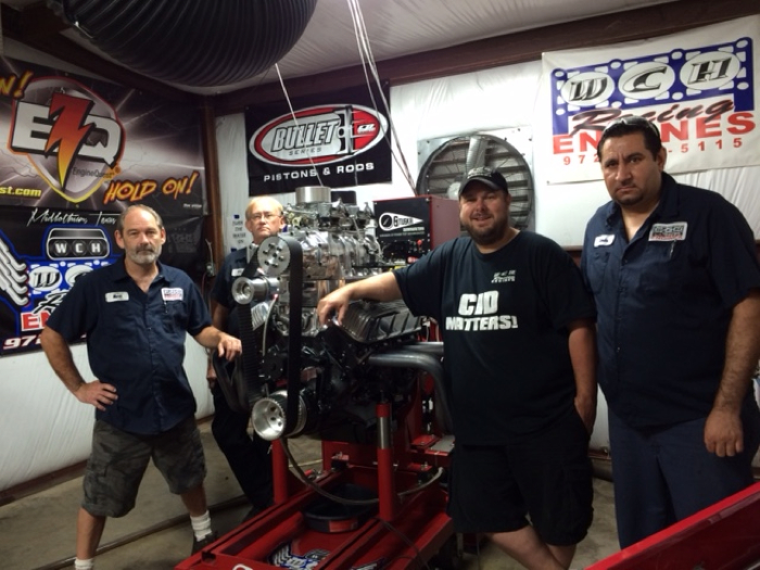 """The WCH Racing Engines crew. From left: Mark Allen Earl; Mike Morphew; Jammie Wells; and Manuel """"Pepe"""" Cerda."""
