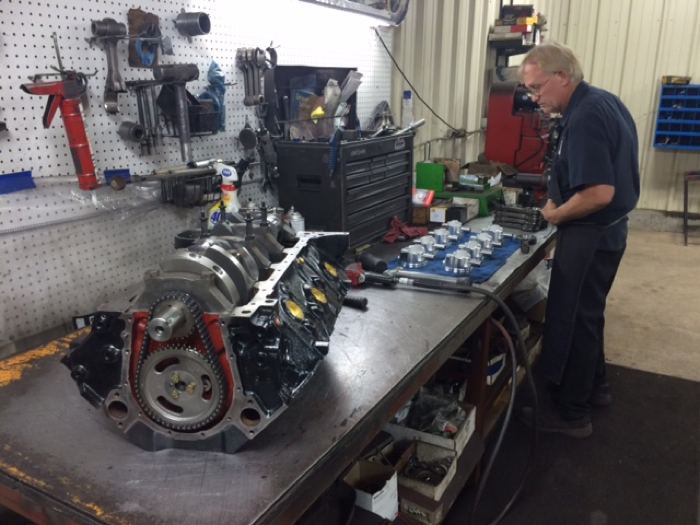 Mike Morphew assembles the components for the TV engine.