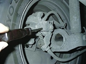 The parking brake mechanism on some VW rear parking brakes can stick due to debris in the arm.