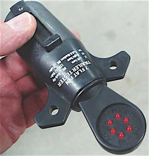 LED-equipped trailer connector testers offer a quick method for verifying connector outlet voltage.