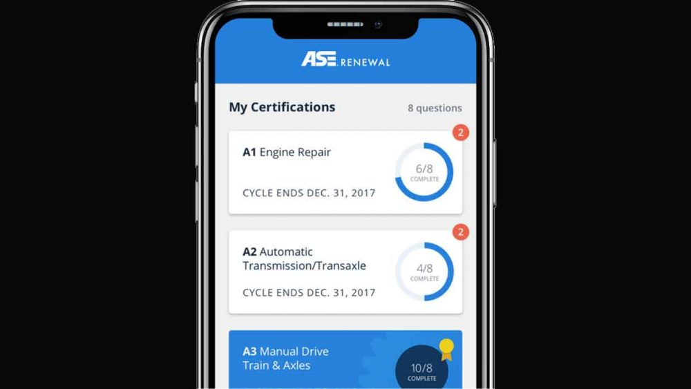 ASE Renewal App Screen