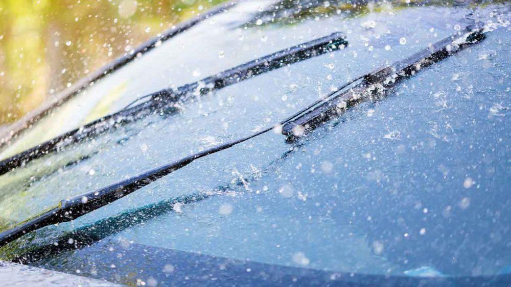 Wiper blades wipe off rain